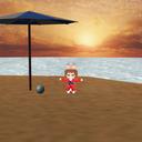 きつね娘+孤島背景